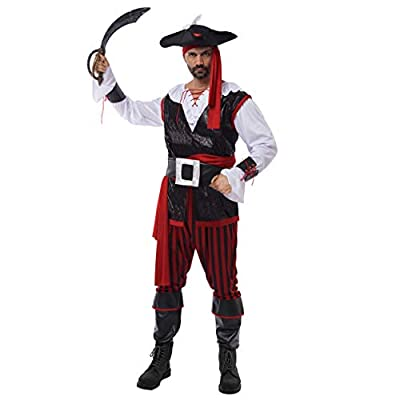 Spooktacular Creations Pirate Costume Men's Plundering Sea Captain Adult Set for Halloween Dress Up Party (XXL) Red