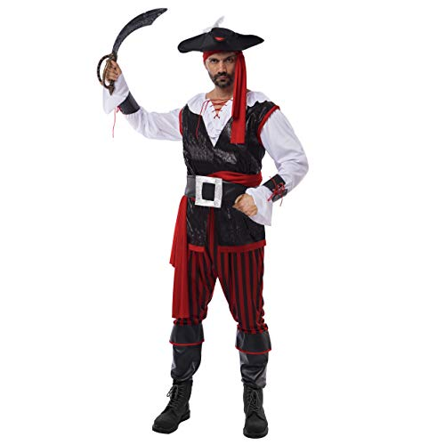 Spooktacular Creations Pirate Costume Men's Plundering Sea Captain Adult Set for Halloween Dress Up Party Costume (XL) Red