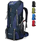 Doshwin 70L Sac à Dos de Camping Trekking Randonnée Voyage (avec Housse Imperméable) (Bleu...