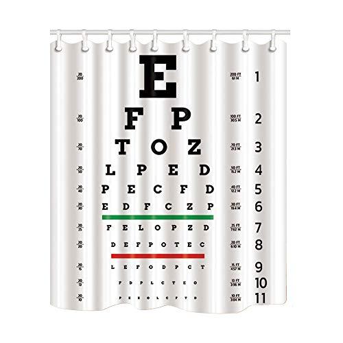 MMPTn Educational Decor Eye Exam Chart Test Board für die Überprüfung der Patientenbild Duschvorhang 3D-Druck Wasserdicht beschichtetes Polyester-Bad mit 12 Haken 71 Zoll