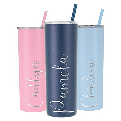 Personalized Tumbler - Laser Engraved - 20 oz Stainless Steel Skinny...