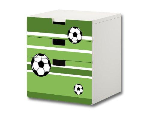 Fußball Möbelsticker/Aufkleber - S3K10 - passend für die Kinderzimmer Kommode mit 3 Fächern/Schubladen STUVA von IKEA - Bestehend aus 3 passgenauen Möbelfolien (Möbel Nicht inklusive)