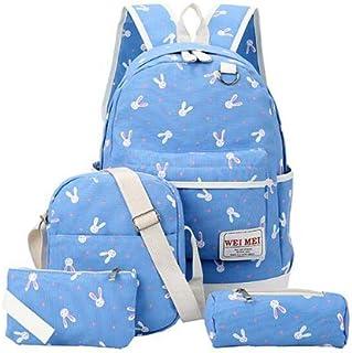TCSLBP Preppy Style Canvas Backpack 4 Pcs/set Women School Knapsack Teenagers Student Casual Shoulder Bag Girls Travel Rucksack