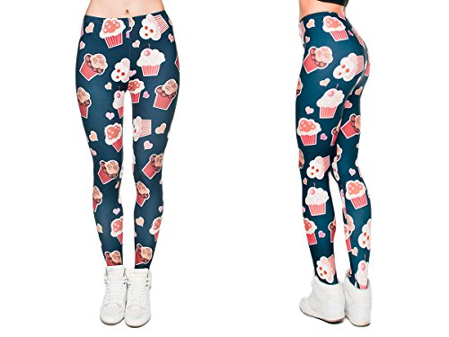 Alsino Leggings Damen Bedruckt Sexy Leggins Ladies mit Print Look Motiv Muster Stretch Legins Hose, wählen:LEG-039 Cupcakes