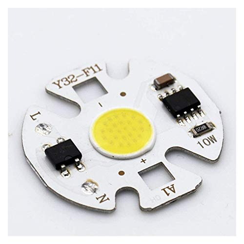 Foco LED COB para bricolaje con chips de CA 220 V 3 W 5 W 7 W 9 W LED lámpara Smart IC Driver Bombillas Downlight Chips luz de inundación exterior (color emisor: blanco cálido)