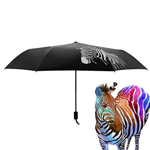 CHRISLZ Wereldkaart Paraplu Automatische Paraplu Opvouwbare Zonnescherm Paraplu Winddichte Paraplu/Drie Opvouwbaar/Water Veranderende Kleur/Zwart Rubber Zebra Paraplu