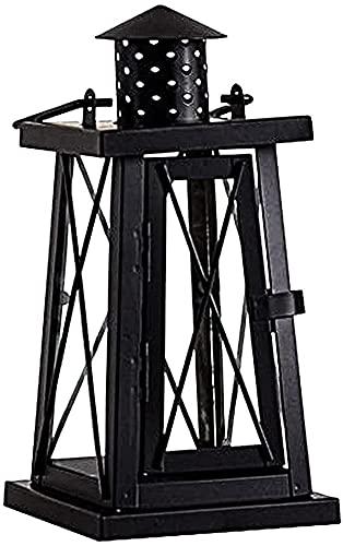 EPYFFJH Antiguo Luminoso Retro té luz Europea Forjado Hierro portátil Linterna Vela de Vela de Metal Linterna/para terraza Familiar jardín (Color: Negro, Tamaño: 11 × 31.5cm)