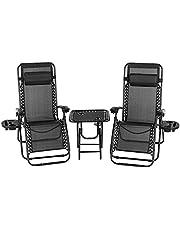 MVPower 3-delige ligstoel tuinstoel relax stoelen ligstoelenset opvouwbaar met bijzettafel verstelbaar hoofdkussen, ergonomische ademende, zwart