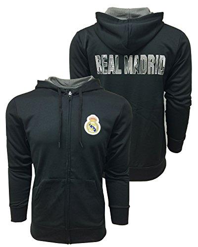 Real Madrid Black Zip Hoodie, Licensed Real Madrid Hoodie (Large)
