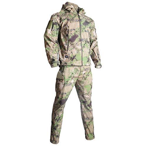 Muchen Combinaison tactique militaire imperméable à capuche + pantalon pour homme - Camouflage - En peau de requin - Pour la chasse, la randonnée - Taille S