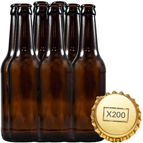 Kit de 20 bouteilles de bière de 33 cl réutilisables avec 200 capsules incluses pour fabriquer des bières artisanales Pour fabrication artisanale à la maison