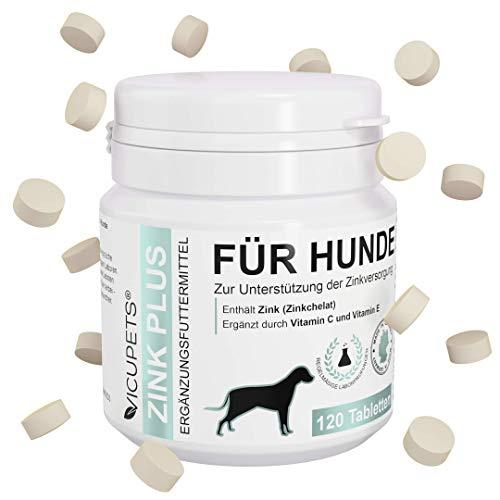 Vicupets Zink Plus | Zink für Hunde | Vitamine für Hunde | Vitamintabeletten fürs Immunsystem gegen Haarausfall Hund | 100% Natürliche Tabletten | 120 Stück |