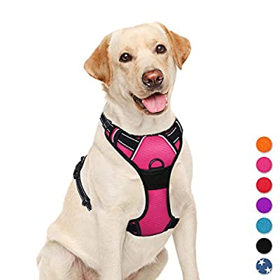 BARKBAY No Pull Pet Harness Dog Harness Adjustable Outdoor Pet Vest 3M Reflective Oxford Material Vest for PINK Dogs Easy Control for Small Medium Large Dogs (L) from BARKBAY