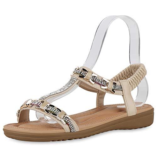 SCARPE VITA Damen Sandaletten Keilsandaletten Strass T-Strap Profilsohle Sommer Freizeitschuhe Bequeme Keilabsatz Schuhe 195492 Creme 39