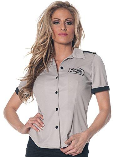Underwraps Women's Prison Guard Fitted Shirt, Grey/Black, Large