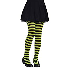 Size: 2-4 Years Poly-nylon Mix - Stretchy for comfort Ideal for Halloween costumes Green and black striped