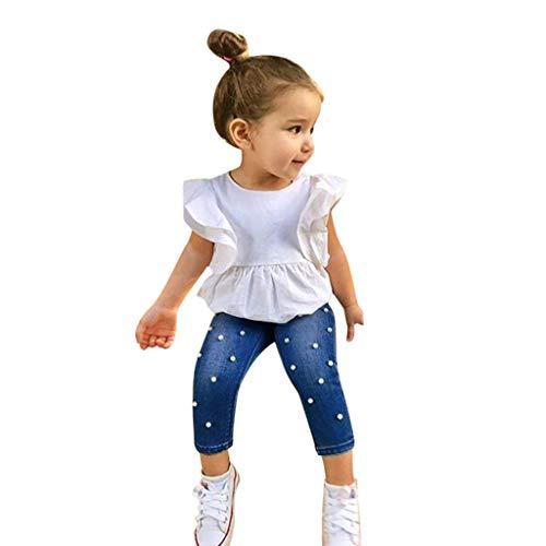 MRURIC Baby Kleidung Set,Kleinkind Kinder Baby mädchen Outfits solide t-Shirt Tops + Perle Denim Hose Jeans, Sommer Kurzarm Strampler Overall Tops Outfits Spielanzug Set Bekleidungssets