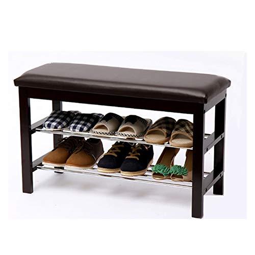 Organizador para Zapatos Zapatos de madera Bastidores Banco con cojín de cuero 2-capa de entrada zapatero Reposapiés Adecuado for pasillos de entrada Dormitorio (marrón) Mueble para Zapatos