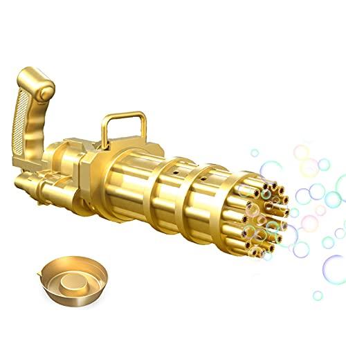 Sroomcla Máquina de burbujas Gatling fabricante de burbujas de gran cantidad de 15 orificios ametralladora automática de burbujas pistola de burbujas eléctrica juguete para niños y niñas amiable