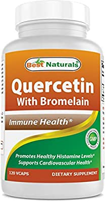 Best Naturals Quercetin with Bromelain Veggie Capsule - 800mg of Quercetin & 165 mg of Bromelain (2400 GDU/g), 120 Count