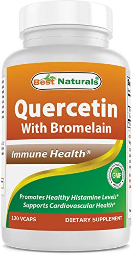 Best Naturals Quercetin with Bromelain Veggie Capsule - 800mg of Quercetin & 165 mg of Bromelain (2400 GDU/g), 120 Count