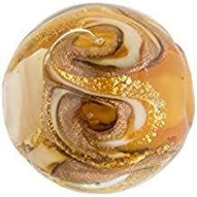 Topaz with Aventurina and 24kt Gold Foil Mare Round 14mm Murano Glass Bead Handmade Lampwork