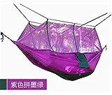 GUHSX Doble paracaídas Mosquitera Silla Hamaca Turismo Flyknit Hamaca Hamak Rede Jardín Columpio Camping Amaca Hangmat Dormir Hamacpúrpura