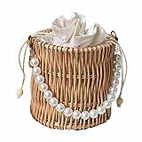 ZHOUBA Rattankorb, Picknick-Stoff, Rattankorb, runde Öffnung, gewebte Tasche mit Kunstperlen-Griff, für Damen, prägnante Damen-Handtasche aus Holz