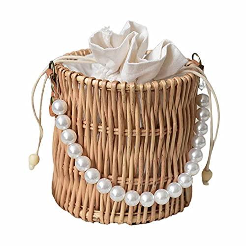 Zhouba - Cestino in rattan, in rattan, con manico in finta perla e manico in rattan sintetico, da donna, in legno conciso