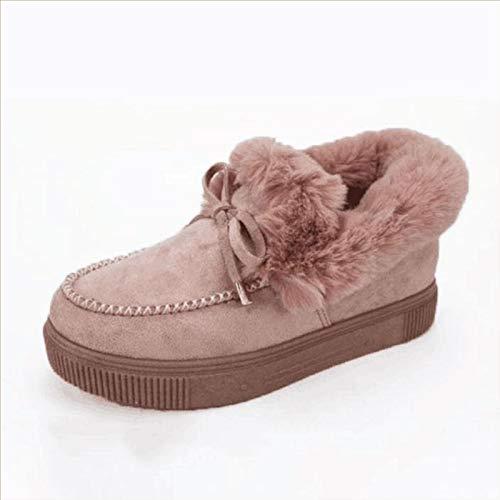 Botas planas de moda casual para mujer, botas de nieve de invierno, cálidas y duraderas, botas de nieve planas de ante, zapatos de plataforma, color rosa, 41