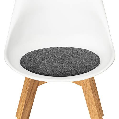 FILU Sitzkissen aus Filz 2er-Pack Dunkelgrau rund (Farbe und Form wählbar) 35 cm – Sitzkissen für drinnen und draußen, Deko für jeden Stuhl im Wohnzimmer oder Esszimmer, Gartenstuhl/Balkonstuhl