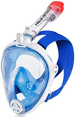 Aqua Speed Taucherbrille Vollgesichtsmaske Erwachsene I 180° Panorama Schnorchelmaske I Tauchmaske mit Schnorchel Anti-Fog I + Mikrofaser Handtuch I 07.Blau/Weiß, Gr. S–M I Spectra 2.0
