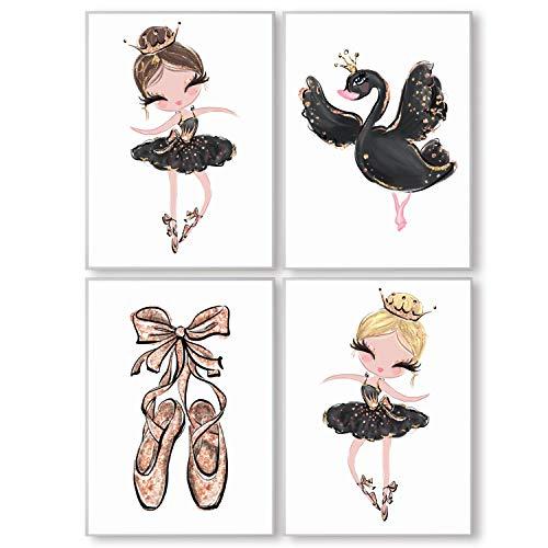 Pandawal Kinderzimmer deko Mädchen Wandbilder Ballerina mit Krone/Schwan Schwarz Gold Bilder 4er Poster Set (T8) im DIN A4 Format…