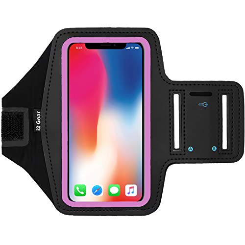 i2 Gear Cell Phone Armband Case for Running - Workout Phone Holder with Adjustable Arm Band and Reflective Border - Large Armband for iPhone X XS Galaxy S9, S8, S7, Edge, LG and Pixel 2, 3, Pink