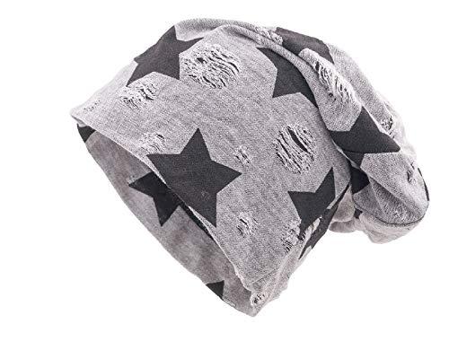 Shenky - Long Bonnet Effet Vieilli/déchiré - Jersey - Motif étoile/tête de Mort - Gris Clair