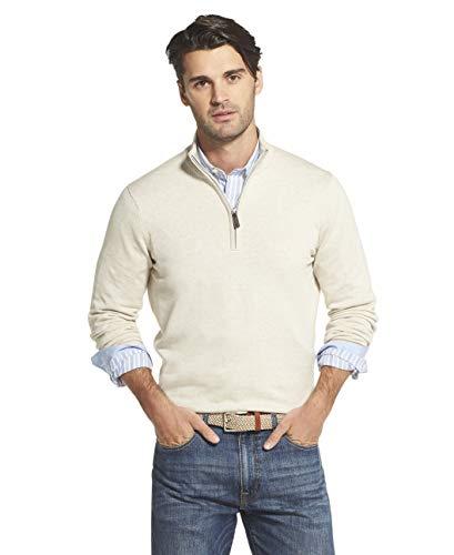 IZOD Men's Premium Essentials Quarter Zip Solid 12 Gauge Sweater, ROCK HEATHER, 2X-Large