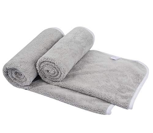 KinHwa 2er Pack Microfaser Handtücher, Stark Wasserabsorbierendes Mikrofaser Handtuch, Mikrofaser Badetuch, Super Weich Duschtücher, Schnelltrocknend & Saugstark, 40cm x 76cm, Hellgrau