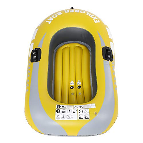 Inflatable Fishing Boat, PVC Inflatable Kayak Canoe 1 Person Rowing Air Boat Fishing Drifting Diving for Fast Inflation and Deflation