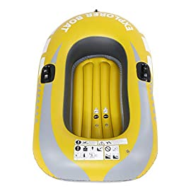 VGEBY1 Inflatable Boat, PVC Inflatable Kayak Canoe 1 Person Rowing Air Boat for Fishing Drifting Diving Bearing 55KG 5 【High Quality】This boat adopts good quality PVC material, thickness up to 0.3mm, airtight and wear-resistant. 【Heavy Duty】Inflatable design, easy to fold for convenient storage and transportation, suitable for one persons to use, load bearing is up to 55kg. 【More Practical】Double valve design is good for fast inflation and deflation, with two paddle mounts, can hold paddle for labor-saving paddling.