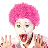 Rose Pink Short Clown Afro Wig - Curly 70s 80s Disco Cosplay Synthetic Hair 8' Wavy Deluxe Fancy Funny Halloween Party Hippy Football Fans Wigs for Men Women