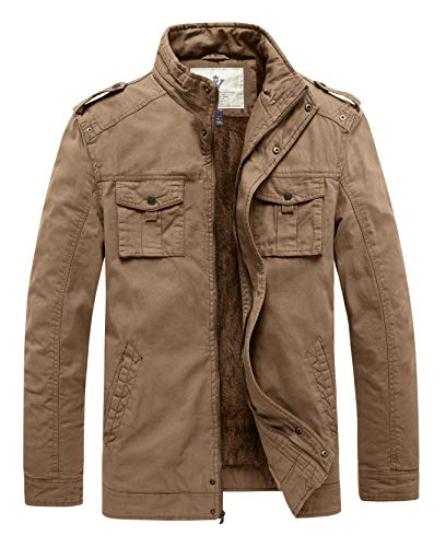WenVen Men's Twill Cotton Stand Collar Military Jacket Field Coat Khaki M