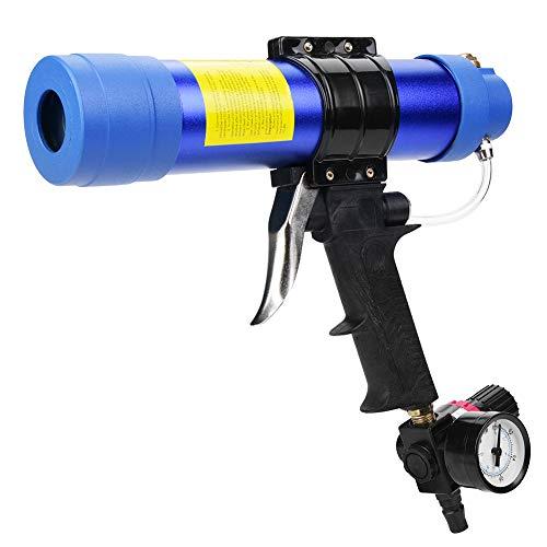 Pistola selladora de pegamento para vidrio neumático sólida, robusta y resistente, válvula de escape de 310 ml, rasqueta adhesiva para residuos de soldadura con aluminio y plástico (azul)