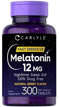 Carlyle Melatonin 12 mg Fast Dissolve 300 Tablets | Nighttime Sleep Aid | Natural Berry Flavor | Vegetarian Non-GMO Gluten Free