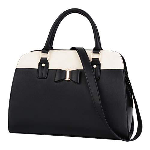 Damen Handtasche, COOFIT Handtasche Damen Schwarz Groß Taschen Umhängetasche Leder Schultertasche Bowknot Crossbody Tasche Tote Handtaschen