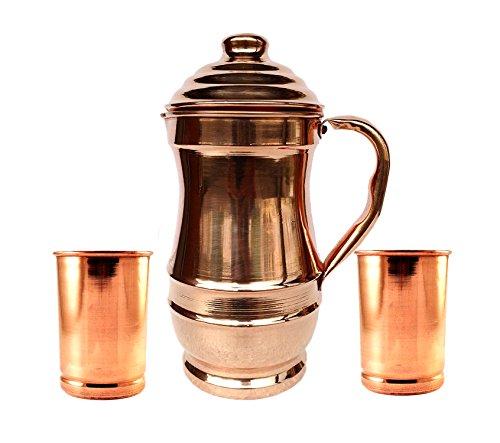Rastogi Handicrafts Jarra de cobre puro con 2 vasos de vidrio para...