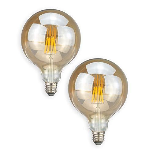 POPP® Bombillas E27 LED Vintage Edison G125 8W Equivalente a 75W Incandescente 2700K 800Lm ámbar Antigua Lampara Bulbo Filamento No Regulable AC 220-240V (Pack 2)
