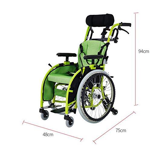 AINIDEMA rolstoel, opvouwbare kinderrolstoel, lichtgewicht aluminium aluminium frame, vier remsysteem Cerebral Palsy zelfrijdende rolstoel kan dragen 100Kg met hoofdsteun, Zitbreedte35cm
