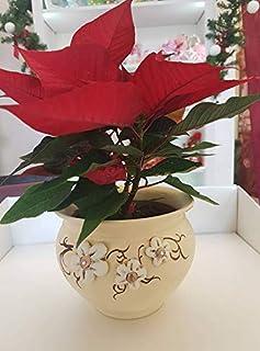 Sottovaso da Interno - Vaso Rotondo - Elegante - con Fiori a rilievo e Cristalli - Le Ceramiche Del Re