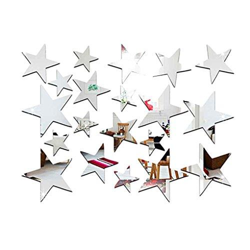 Arichtop 20pcs / Set Forma de Estrella del Espejo Pegatinas 3D acrílico Estrellas Espejo Adhesivos de Habitaciones DIY la decoración del hogar del Papel Pintado (Silver)