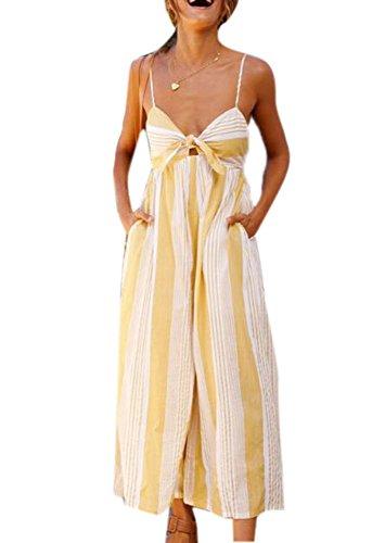 Frauen Striped Jumpsuit, Boohoo Beach Playsuit V-Ausschnitt ärmellos Off Schulter Streifen vorne Wrap Long Wide Leg Jumpsuit